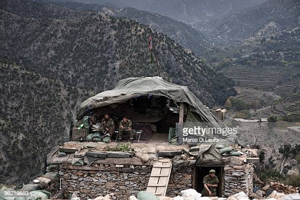 Afghan National Army soldiers attached to US Army B Company 2nd Battalion12th Infantry Regiment 4th Brigade4th Infantry Division Baker Company seats...