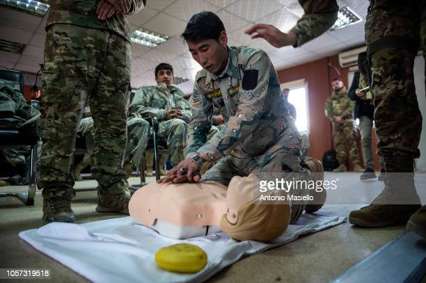 Afghan National Army soldiers attend the training by Italian soldiers from Nato Resolute Support Mission at Camp Arena near Herat airport on November...