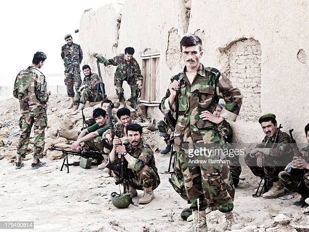 Afghan National Army soldiers being trained by a British Army OMLT in Helmand.