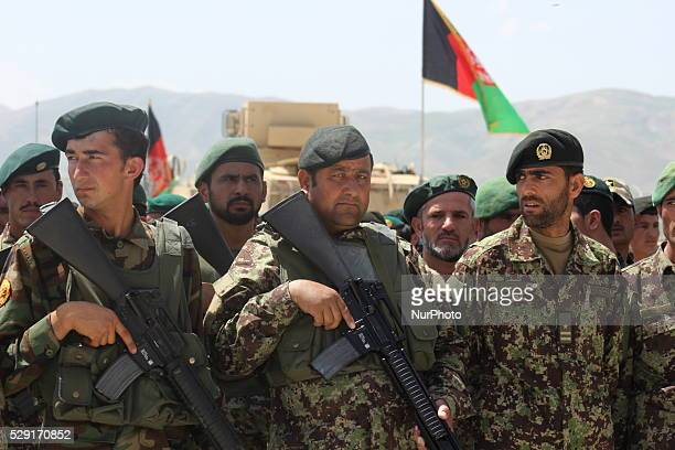 Afghan National army soldiers line up during military training in Badakhshan province Afghanistan on May 8 2016