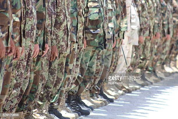 Afghan National army soldiers line up during military training in Badakhshan province, Afghanistan, on May 8, 2016
