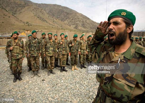 Afghan National Army soldiers rehearse a welcoming ceremony for their commanding officer General Mongal in Naray Kunar eastern Afghanistan on...