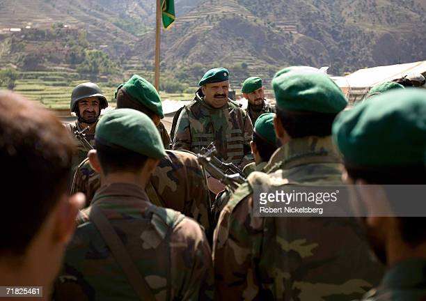 Afghan National Army welcome their commanding officer from Kabul General Mongal on September 5 in Naray Kunar eastern Afghanistan The ANA is being...