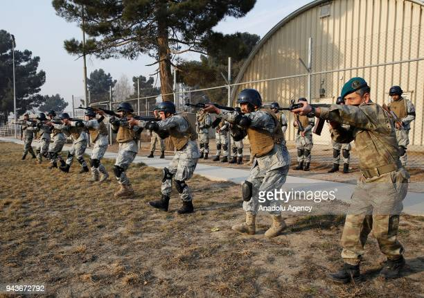Afghan National Civil Order Police members are seen as they are being received urban warfare training from members of Turkish Armed Forces, on...