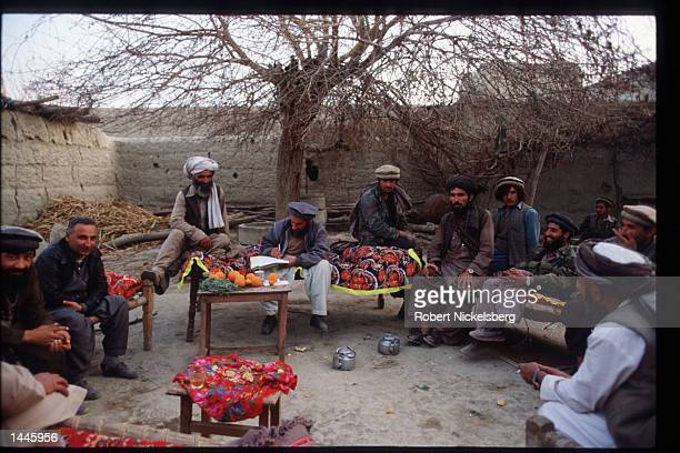 Afghan National Liberation Front commanders hold a meeting March 6 1989 in Jalalabad Afghanistan The end of Soviet military occupation which began in...