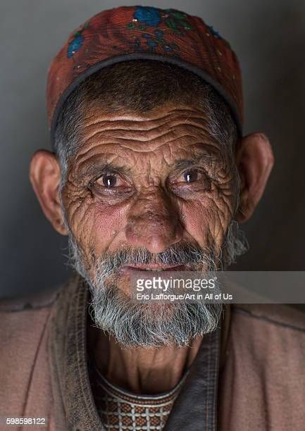 Afghan old man in pamiri traditional clothing badakhshan province wuzed Afghanistan on August 13 2016 in Wuzed Afghanistan