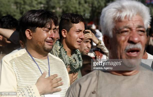 Afghan people gather to stage a demonstration against Afghan Government due to increasing security issues as they mourn the death of Afghan people...