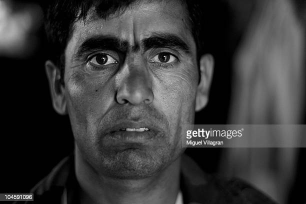 Afghan police man Khan Mohammad poses at a small police station on a heigh ground overlooking the city on October 1 2010 in Feyzabad Afghanistan The...