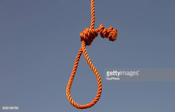 Afghan police take positions by nooses prepared to execute men at PuleCharkhi prison in KabulAfghan police take positions by nooses prepared to...