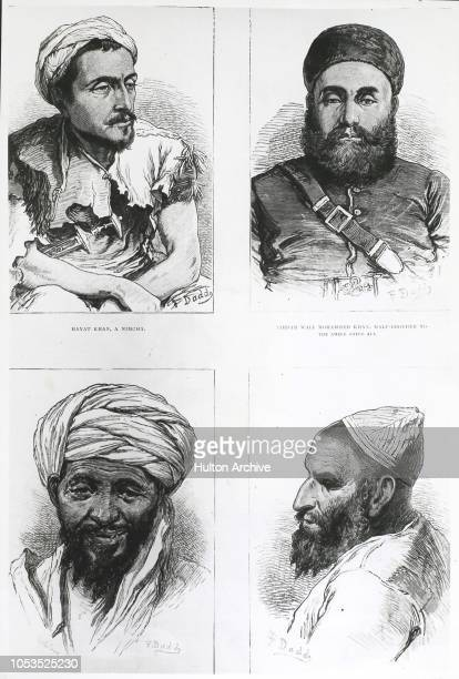 Afghan portraits by our special artist 1 Hayat Khan A Nimcha 2 Sirdir Wli Mohammed Khan halfbrother to the Ameer Shere Ali 3 Adal a man of Hazara 4...