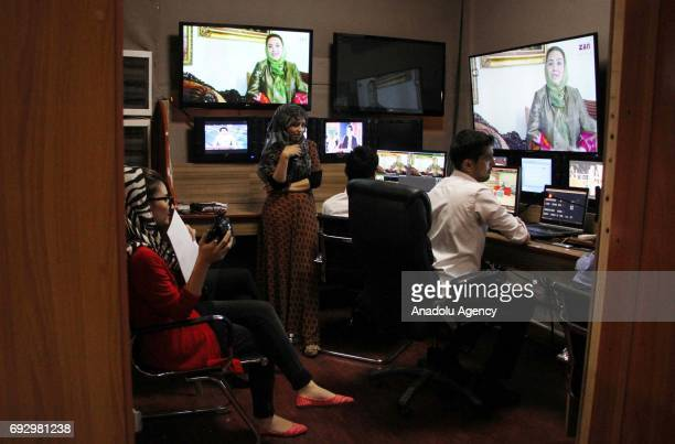 Afghan presenters provide the daily TV programs at the first women's TV channel Zan TV station in Kabul Afghanistan on June 6 2017