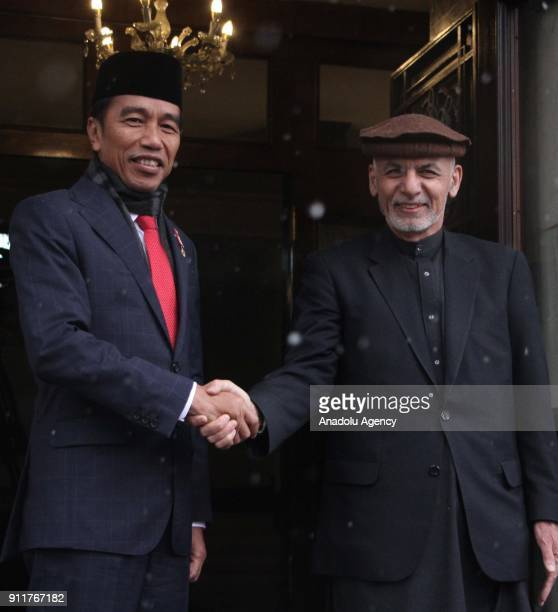 Afghan President Ashraf Ghani and Joko Widodo President of Indonesia shake hands at presidential palace in Kabul Afghanistan on January 29 2018