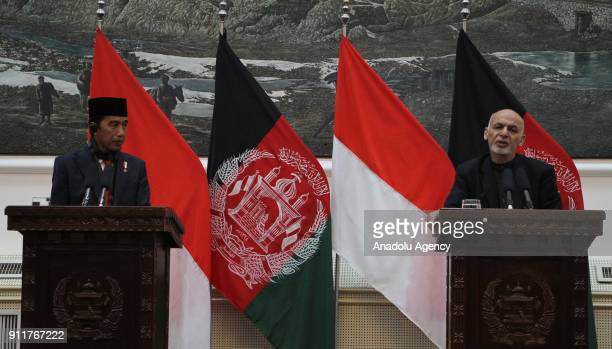 Afghan President Ashraf Ghani and Joko Widodo President of Indonesia hold a press conference at presidential palace in Kabul Afghanistan on January...