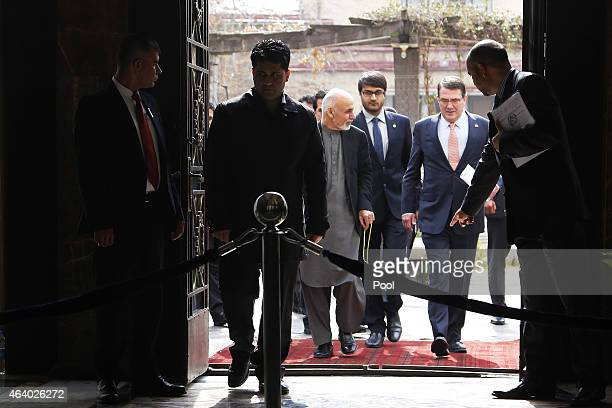 Afghan President Ashraf Ghani and US Secretary of Defense Ash Carter arrive to holds a news conference with at the Presidential Palace on February 21...