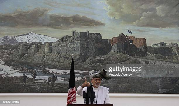 Afghan President Ashraf Ghani holds a press conference at presidential palace on July 12 2015 in Kabul Afghanistan