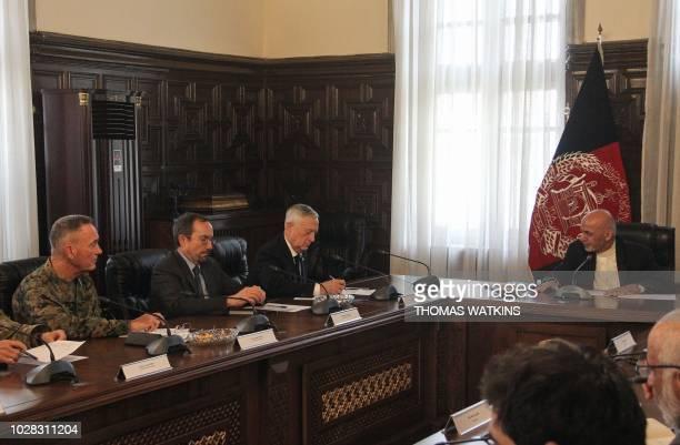 Afghan President Ashraf Ghani meets with US Defense Secretary Jim Mattis US Ambassador to Afghanistan John Bass and US General Joseph Dunford at the...