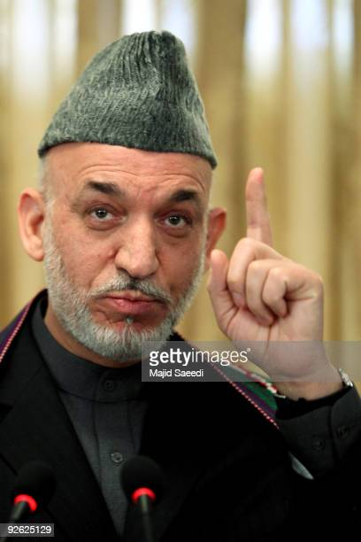 Afghan President Hamid Karzai addresses a press conference at the Presidential Palace on November 3, 2009 in Kabul, Afghanistan. Re-elected Karzai...