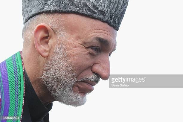 Afghan President Hamid Karzai arrives at Bellevue Palace to meet with German President Christian Wulff on December 6, 2011 in Berlin, Germany. Karzai...