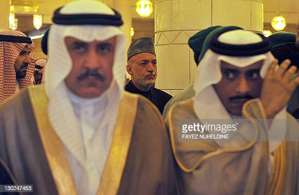 Afghan President Hamid Karzai attends the funeral of late Saudi Crown Prince Sultan bin Abdul Aziz at Imam Turki bin Abdullah mosque in Riyadh on...