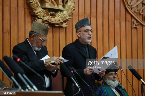 Afghan President Hamid Karzai gives the oath to members of the new parliament on January 26, 2011 Kabul, Afghanistan. Afghanistan's parliament was...