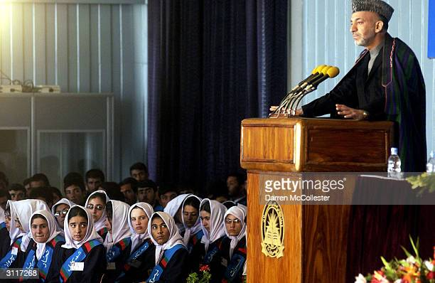 Afghan President Hamid Karzai makes a speech during first day of school ceremonies March 21 2004 at the German School in Kabul Afghanistan President...