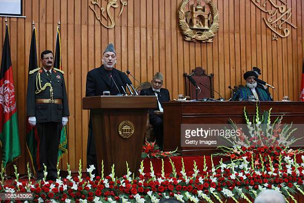 Afghan President Hamid Karzai speaks to members of the new parliament on January 26, 2011 Kabul, Afghanistan. Afghanistan's parliament was opened by...