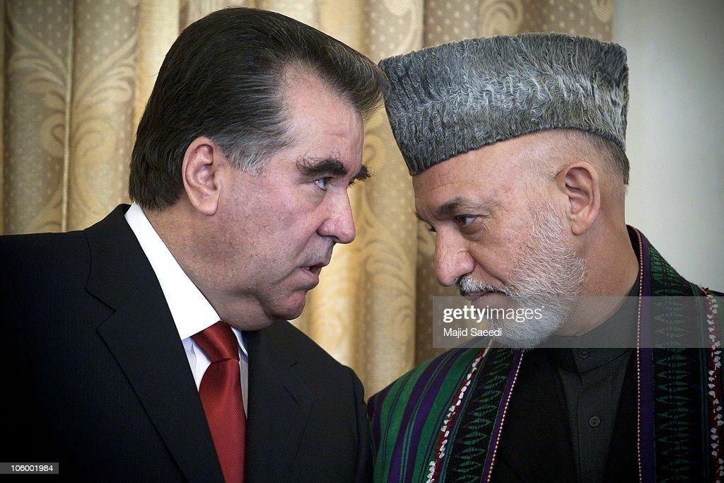 Afghan President Hamid Karzai Hosts Tajik President Emomali Rahmon