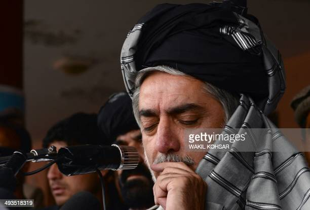 Afghan presidential candidate Abdullah Abdullah addresses supporters during an election campaign rally in Gardez capital of eastern Paktia province...