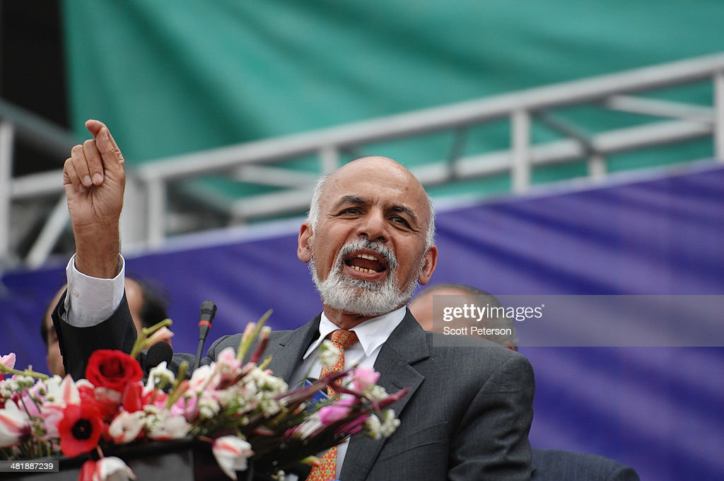 Afghan Presidential Candidate Ashraf Ghani Ahmadzai speaks at a rally for thousands of supporters at the Ghazi stadium on April 1, 2014 in Kabul, Afghanistan. Mr. Ghani is a frontrunner in the April 5 vote to succeed President Hamid Karzai, in an election that is seen as a test of stability that will ensure continued Western donor aid for a nation torn by a Taliban insurgency. The Ghazi stadium is known as the site of amputations and executions during Taliban rule in the late 1990s.