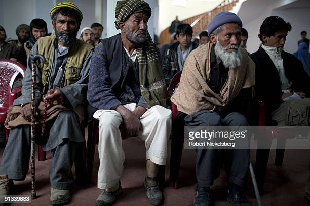Afghan presidential candidate from the National Millet party Anwar ulHaq Ahadi 56 years speaks at his party headquarters to a group of afghan war...