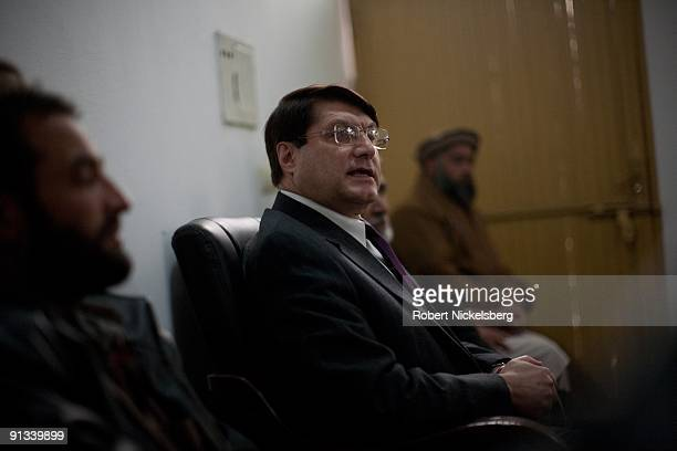 Afghan presidential candidate from the National Millet party Anwar ulHaq Ahadi 56 years speaks at his party's headquarters to a group of afghan war...