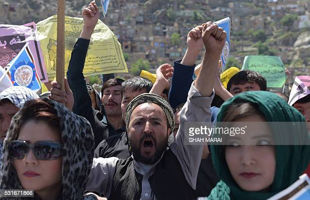 Afghan protesters chant antigovernment slogans during a demonstration in Kabul on May 16 held to demand that The...