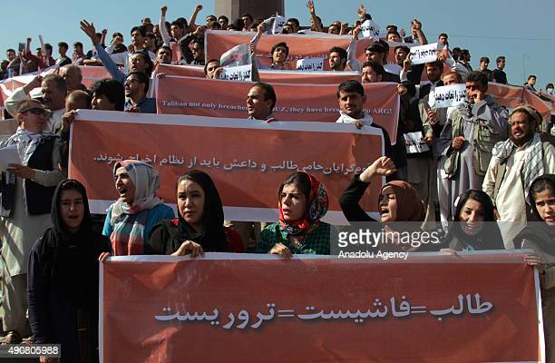 Afghan protesters shout antiTaliban and government slogans during a demonstration in Kabul Afghanistan on October 1 2015 Hundreds of Afghans holding...