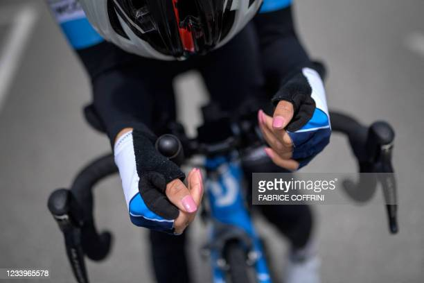 Afghan refugee road cyclist Masomah Ali Zada rides during a training session at the World Cycling Centre in Aigle on July 1, 2021 as she prepares to...
