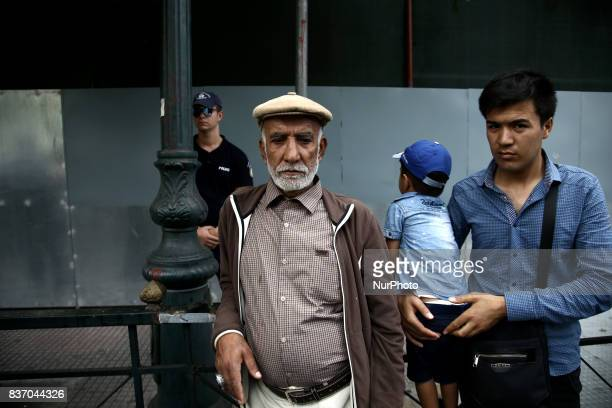 Afghan refugees protest against the EuropeTurkey agreement in Athens on Tuesday August 22 2017 Families of Afghans protest outside the European...
