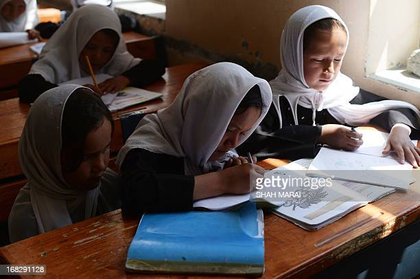 Afghan schoolgirls study during a lesson in Qara Zaghan village in Baghlan province on May 7 2013 Afghanistan's education minister has threatened to...