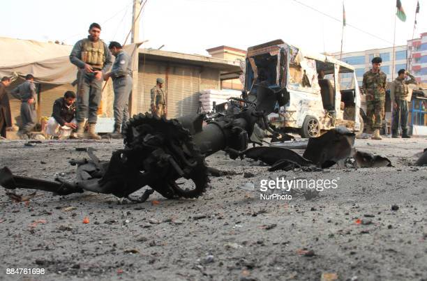 Afghan security force inspects the site of a Suicide bomb in Jalalabad Afghanistan 03 December 2017 Five civilians were killed and seven others...