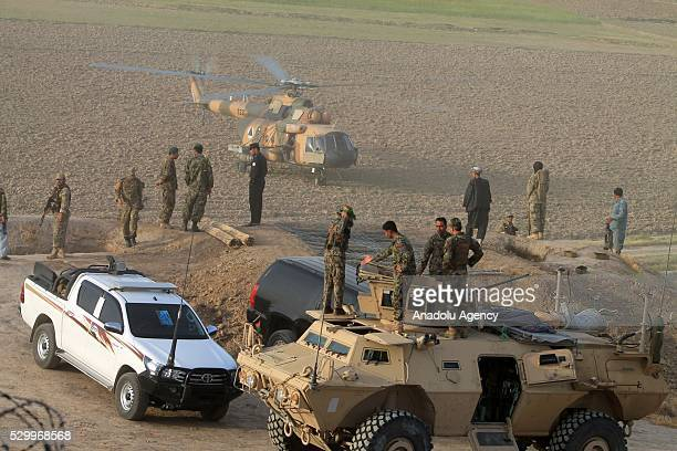 Afghan Security Forces are seen after clashes against Taliban militants killed at least 35 people in Cevizcan province of Afghanistan on May 10 2016...