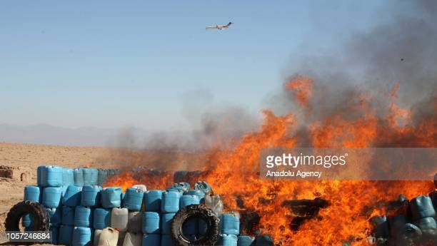 Afghan security forces destroy 13 tonnes of drugs in Herat Afghanistan on November 04 2018