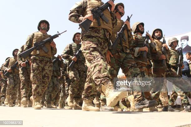 Afghan security forces during in a military march in Badakhshan province on 19 August 2018They show their military capabilities to people in order to...