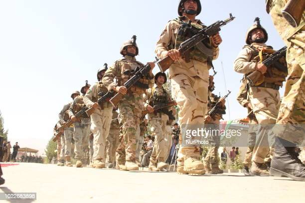 Afghan security forces during in a military march in Badakhshan province, on 19 August 2018.They show their military capabilities to people in order...