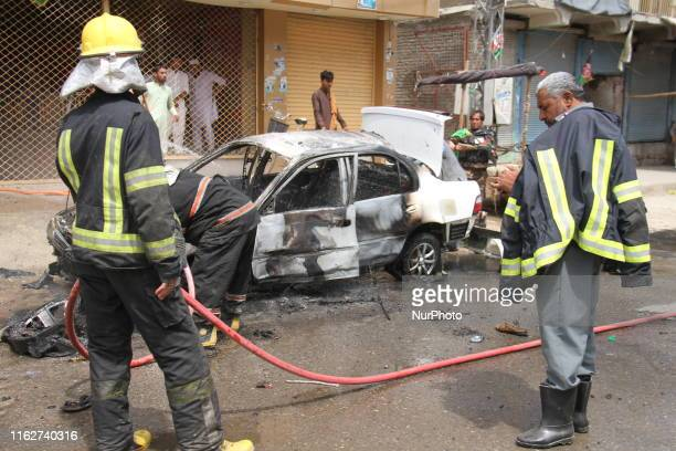Afghan security personals inspect the scene of a bomb blast in Jalalabad, Afghanistan August 19, 2019. At least ten bomb blasts occurred in the city...