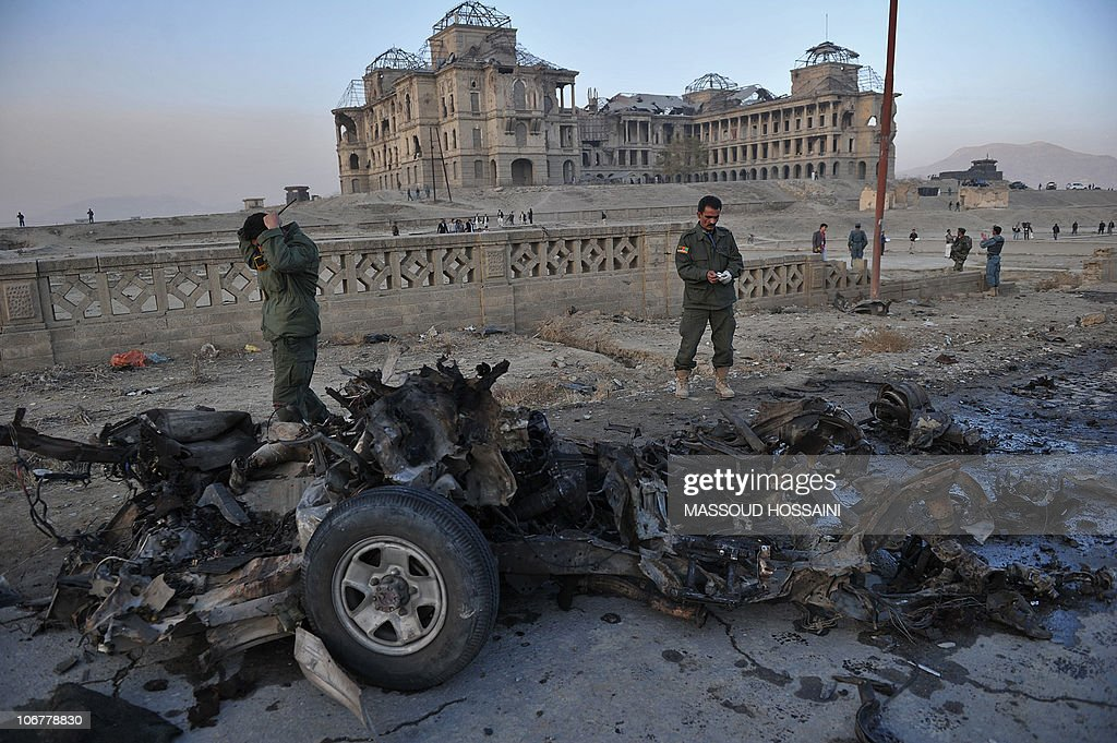 Afghan security personnel inspect the wr : News Photo
