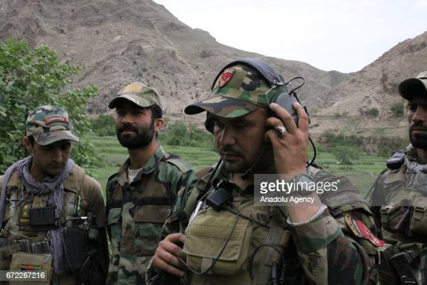 Afghan soldier take part in a military operation against Daesh terrorists in the Nangarhar province of Afghanistan bordering Pakistan on April 24...