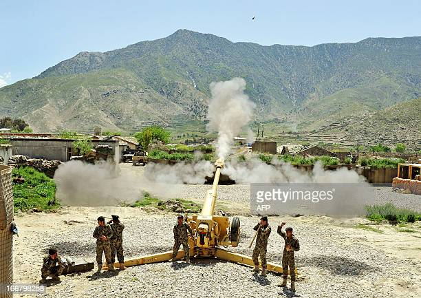 Afghan soldiers belonging to the Field Artillery Division of Afghan National Army , Kandak 6 test fire the D30 Howitzer gun during a training session...