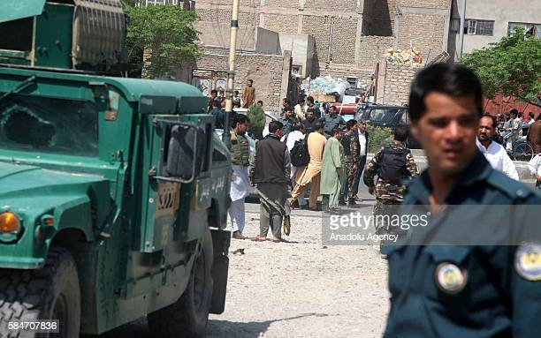 Afghan soldiers inspect after bomb attack in Herat Afghanistan on July 30 2016 According to Herat Police Department spokesman Abduraf Ahmadi 2 people...