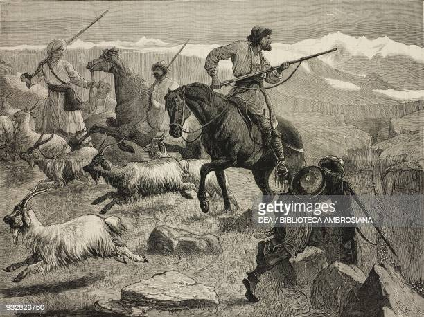 Afghan soldiers on horseback ambushing at Khyber Pass Afghanistan Second AngloAfghan War illustration from the magazine The Graphic volume XVIII no...