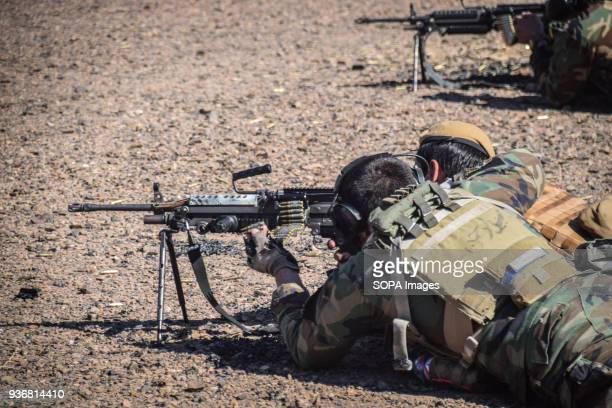 Afghan Special Forces shooting on a firing range just outside Shindand Military Base Herat province Afghanistans elite military forces the Commandos...