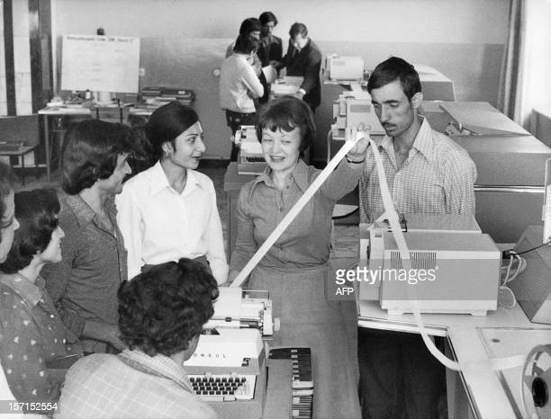Afghan students studying computing technology listen in 1981 to a Soviet teacher in the Computing Center of the Polytechnical Institute in Kabul The...