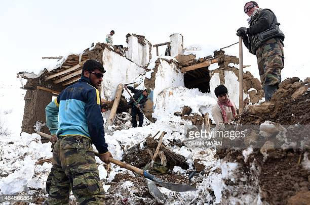Afghan survivors of an avalanche search their destroyed houses in the Abdullah Khil village of the Dara district of Panjshir province north of Kabul...